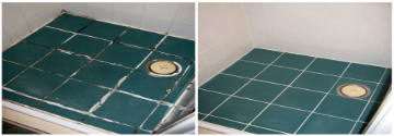 Epoxy Grout in the Shower tray before and after